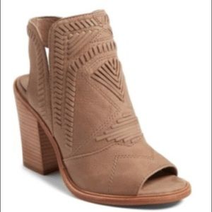 Vince Camuto Open Toe Booties.